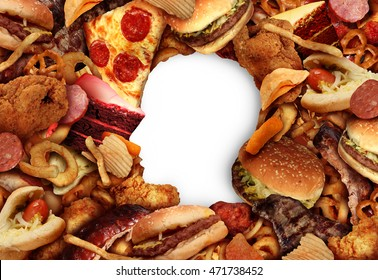 Eating fatty food and unhealthy diet health concept with a group of greasy snacks in the shape of a human head symbol of dangerous nutrition lifestyle in a 3D illustration style.