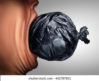 Eating garbage and unhealthy nutrition lifestyle as a person taking a bite out of a trash bag in a 3D illustration style as a health metaphor for disgusting menu habit or poverty hunger.