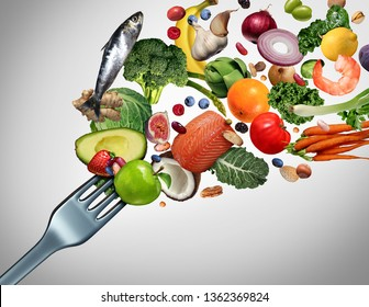Eating healthy food and eat clean symbol as fresh raw ingredients bursting out of a dinner fork with 3D illustration elements.