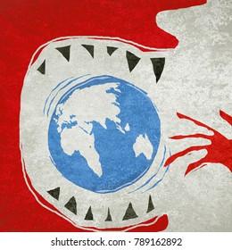 eating the world ecology concept digital illustration