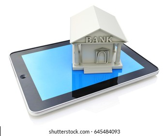 E-banking, e banking, tablet computer PC with bank 3d icon in the design of information related to online bank. 3d illustration