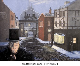 Ebenezer Scrooge walks the snowy night streets of London, ignoring carolers and a beggar in this scene from Dickens' A Christmas Carol.
