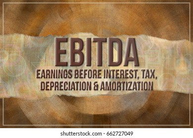 EBITDA, earnings before interest, tax, depreciation and amortization, measure of company operating performance, business & finance conceptual words, with texture background.
