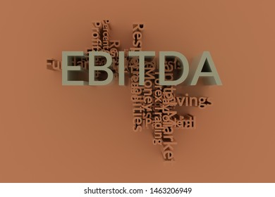 EBITDA, finance keyword words cloud. For web page or design, as graphic resource, texture or background. 3D rendering.