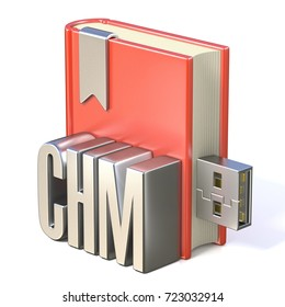 eBook icon metal CHM red book USB 3D render illustration isolated on white background