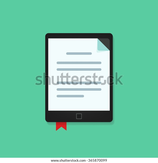 Ebook Reader Device Text Document Icon Stock Illustration
