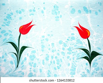 Ebru, Turkish marbling art, tulip