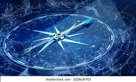 E-Business network concept. Compass Direction On Digital Code Blue Background. 3d rendering