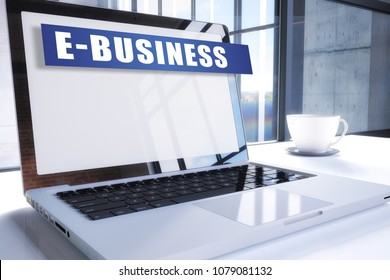 E-Business text on modern laptop screen in office environment. 3D render illustration business text concept.