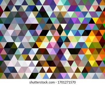 An eccentric fascinating geometric illustration of designing pattern of multi-colored shapes of triangles, squares and rectangles with notional backdrop.