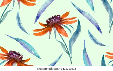Echinacea red flowers and leaves, hand painted watercolor illustration, seamless pattern design on soft green background