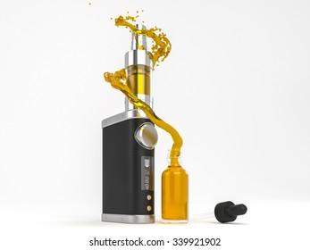 Ecig battery mod atomizer and ejuice splash