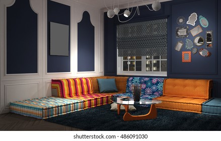 Eclectic and classic lounge, 3d illustration