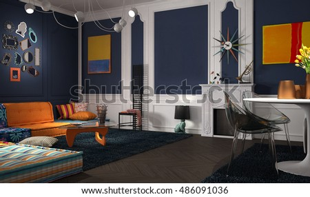 Royalty Free Stock Illustration Of Eclectic Classic Lounge 3 D