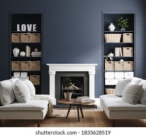 Eclectic home interior in classic blue color, 3d render