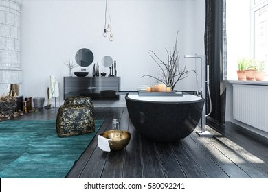 Eclectic modern bathroom with lots of ornaments in Eastern style with an unusual black bathtub lit by large windows. 3d rendering