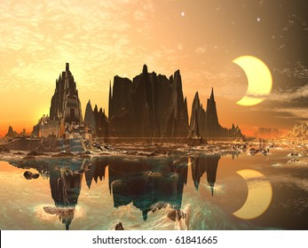 Eclipse over Golden Alien City