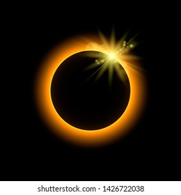 Eclipse with sun rays, space, illustration