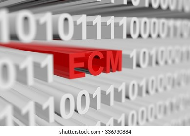 ecm as a binary code with blurred background 3D illustration