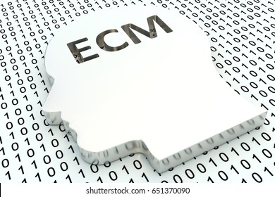 ecm is represented as a binary code and head 3d illustration