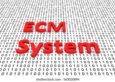 ecm system in the form of binary code, 3D illustration