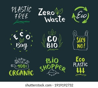 Eco and Bio Hand Drawn labels Set. Calligraphic Letterings with eco friendly sketch doodle elements. illustration.