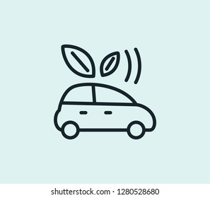Eco car icon line isolated on clean background. Eco car icon concept drawing icon line in modern style.  illustration for your web mobile logo app UI design.