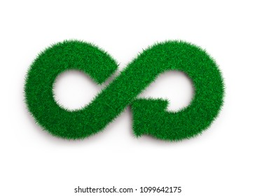 ECO and circular economy concept. The green grass in form of arrow infinity recycling symbol, isolated on white background, 3D illustration.