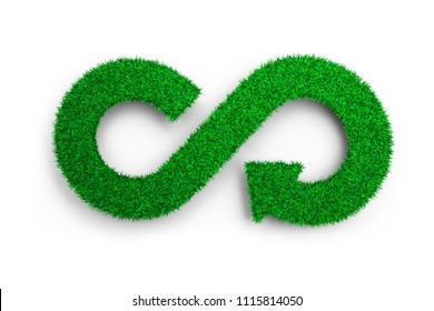 ECO and circular economy concept. The green grass in form of arrow infinity recycling symbol, isolated on white, 3D illustration.
