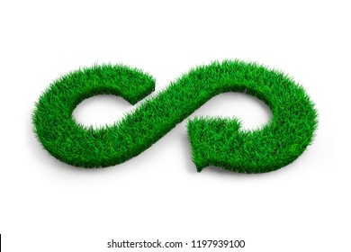 ECO and circular economy concept. The green grass in form of arrow infinity recycling symbol on white background, 3D illustration.