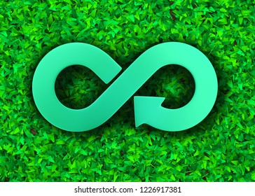 ECO and circular economy concept. Metal arrow infinity recycling symbol on green grass meadow background, top view, 3D illustration.