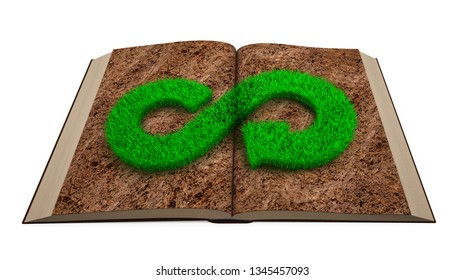ECO and circular economy concept. Opened book with green grass in infinity recycling arrow symbol shape on brown soil page, isolated on white background. 3D illustration.