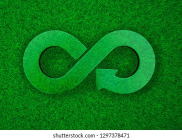 ECO and circular economy concept. Transparent arrow infinity recycling symbol on green grass meadow background, top view, 3D illustration.