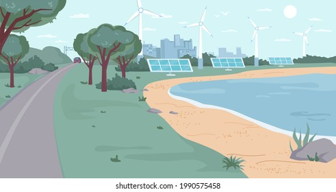 Eco city with renewable energy sources flat cartoon design. ecology friendly environment, windmills and solar panels, green trees and river bank, clean blue sky. Modern town landscape cityscape