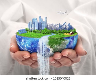 Eco concept. City of future. Solar energy town, wind energy. Save the planet. Earth Day. 3d illustration
