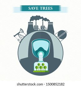 eco concept save trees. Tree clean air, factory pollutes atmosphere. Man in gas mask breathe clean air. Trees purify atmosphere. Flat cartoon illustration. Objects isolated on white background.