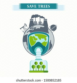 eco concept save trees. Tree clean air, factory pollutes atmosphere. Earth in gas mask breathe clean air. Trees purify atmosphere. Flat cartoon illustration. Objects isolated on background.