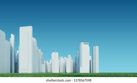 Eco concept,green city with white buildings and green grass. Green city of the future concept. 3d illustration