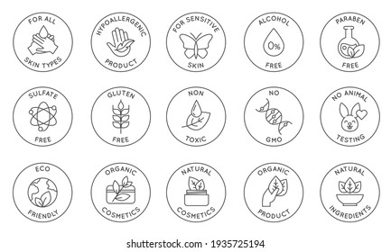 Eco cosmetics icon. Organic natural products alcohol, paraben and gluten free line icons for packaging. Round stamps and badges  set