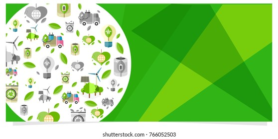 Eco ecologically clean poster with ecological equipment icons for human usage.  colorful poster with transport and things safe for nature