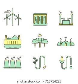 Eco energy illustration set. Alternative and environmental friendly technology and lifestyle.