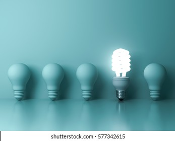 Eco energy saving light bulb , one glowing compact fluorescent lightbulb standing out from unlit incandescent bulbs reflection on green background , individuality and different concept . 3D rendering.
