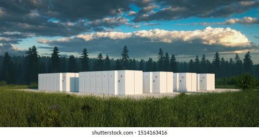 Umweltfreundliches Energiespeichersystem für Batterien in der Natur mit unangenehmen Wäldern im Hintergrund und frischem Grasland im Vordergrund. 3D-Darstellung.