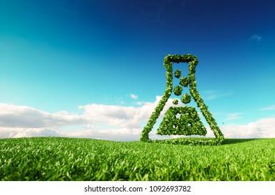 Umweltfreundlich, bio, keine Abfälle, keine Umweltverschmutzung, pestizidfreie Landwirtschaft oder Biokraftstoffkonzept. 3D Darstellung von Daumen nach oben auf der frischen Frühlingsowiese mit blauem Himmel im Hintergrund.