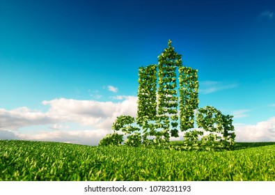 Eco friendly city growing on fresh grass. 3d rendering concept of city shape sign on fresh spring meadow with blue sky in background.