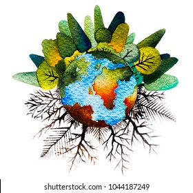Eco friendly ecology to protect the world with tree concept for save energy. Happy Earth day on April, 22. Hand drawn watercolor painting,isolate on white background.Colorful splashing in the paper.