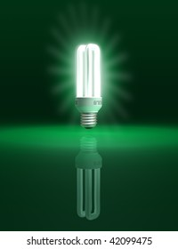 Eco friendly light bulb on green background - conceptual illustration - clipping path included