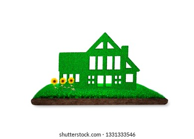 ECO, green energy and circular economy concept, green house on grass land with mud and sunflowers, isolated on white background, 3D illustration.
