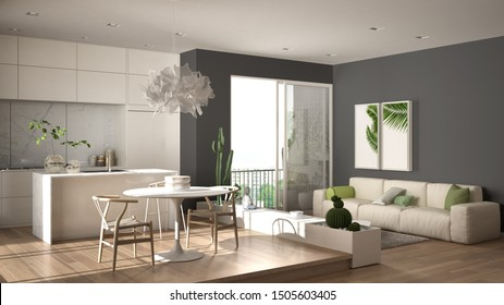 Eco green interior design, white and gray living room with sofa, kitchen, dining table, succulent potted plants, parquet floor, window on panoramic balcony. Sustainable architecture, 3d illustration