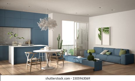 Eco green interior design, white and blue living room with sofa, kitchen, dining table, succulent potted plants, parquet floor, window, panoramic balcony. Sustainable architecture, 3d illustration